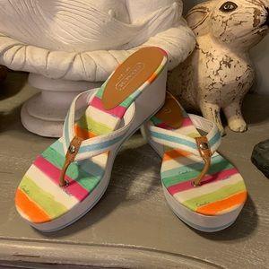 Coach Felicite Stripe Wedge Sandal sz 8.5
